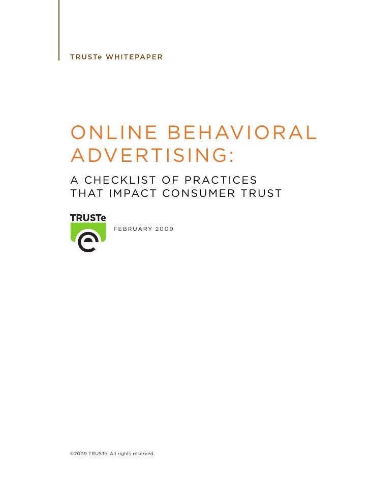 TRUSTe whitepaper- A Checklist of Practices that Impact Consumer Trust