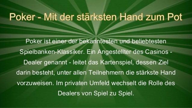 Poker ist einer der bekanntesten und beliebtesten Spielbanken-Klassiker. Ein Angestellter des Casinos Dealer genannt - lei...