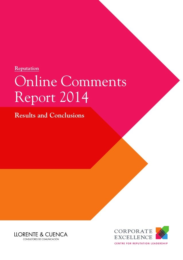 Reputation  Online Comments Report 2014 Results and Conclusions