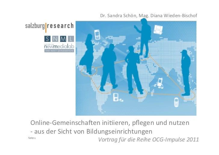Online-Gemeinschaften initiieren, pflegen und nutzen - aus der Sicht von Bildungseinrichtungen