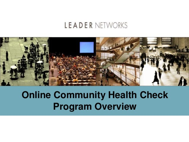 Online Community Health Check Program Overview