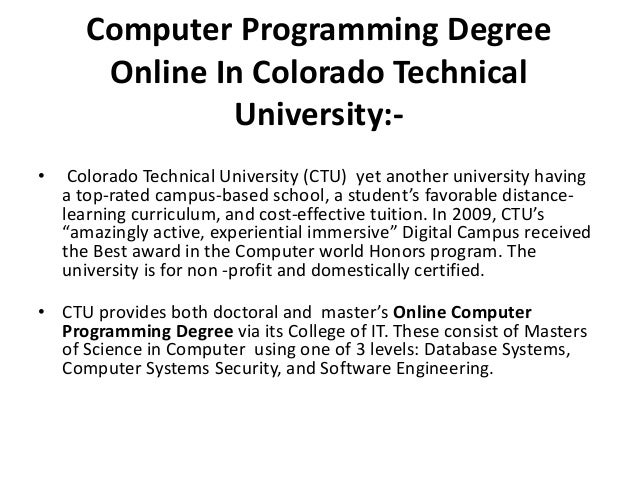 Computer Programming college major for writers