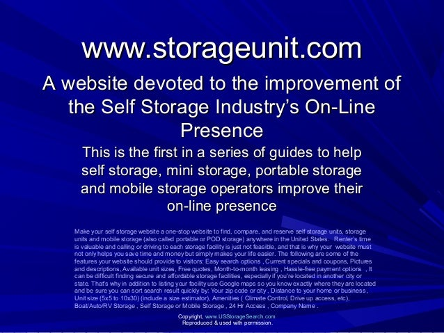 www.storageunit.comwww.storageunit.com This is the first in a series of guides to helpThis is the first in a series of gui...