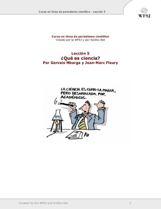 Curso en línea de periodismo científico - Lección 5                      Curso en línea de periodismo científico          ...
