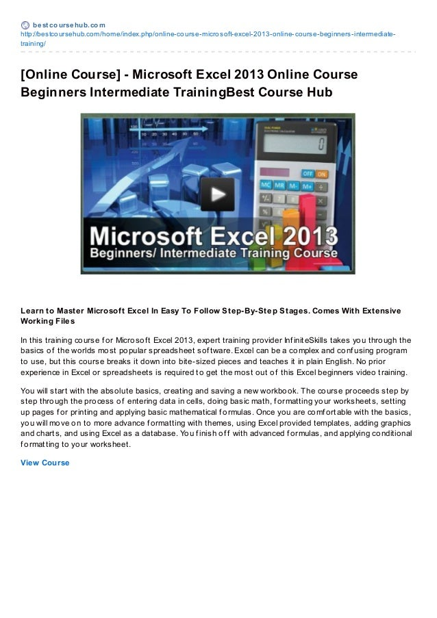 best coursehub.comhttp://bestcoursehub.com/home/index.php/online-course-microsoft-excel-2013-online-course-beginners-inter...