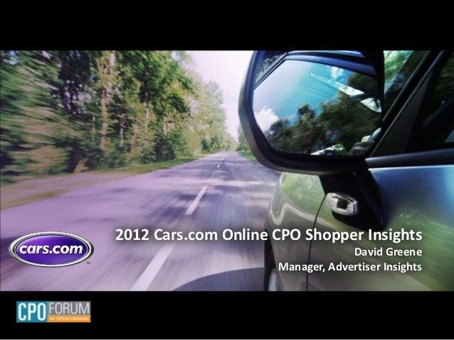 Cars.com Online CPO Insights Presentation Nov 2012