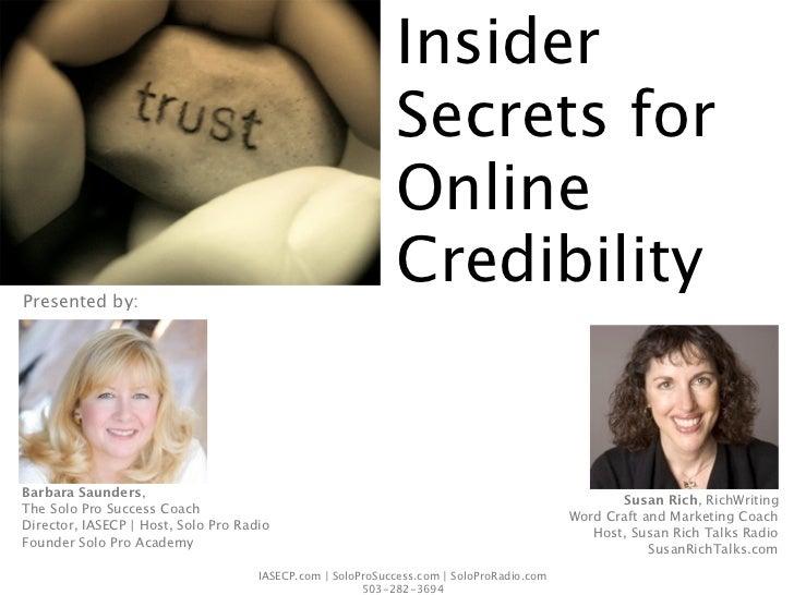 Insider                                                            Secrets for                                            ...