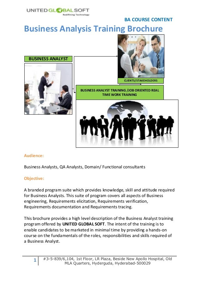 BA COURSE CONTENTBusiness Analysis Training Brochure  BUSINESS ANALYST                                                    ...