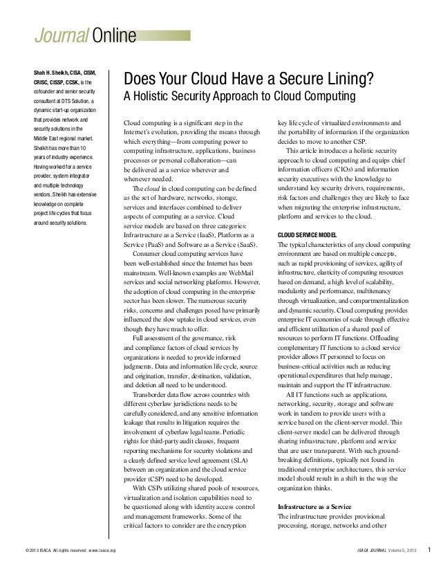 Journal Online 1ISACA JOURNAL Volume 5, 2013©2013 ISACA. All rights reserved. www.isaca.org Cloud computing is a significa...