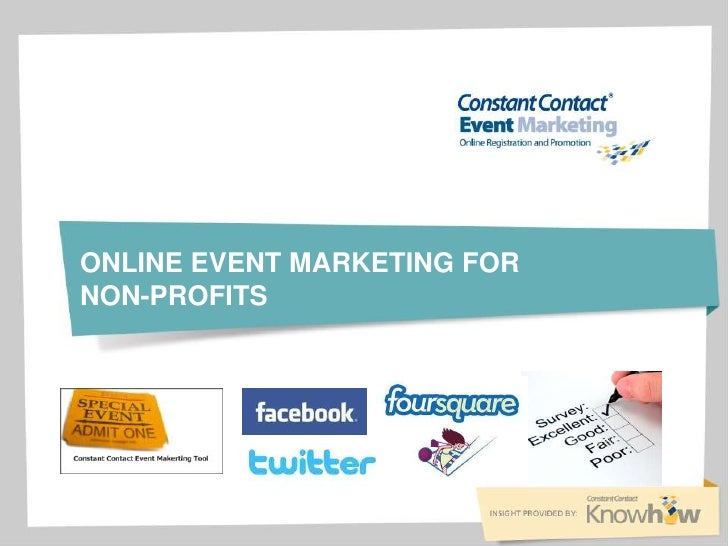 Online event marketing for non profits
