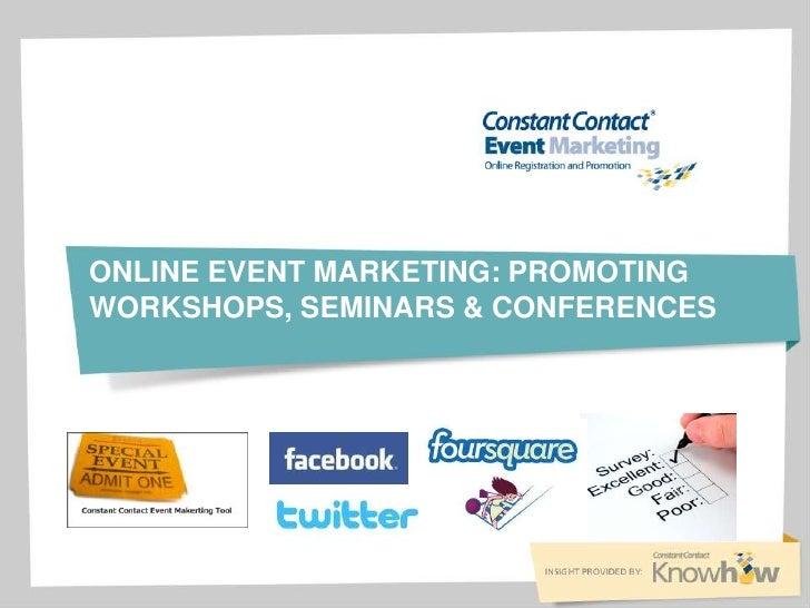 Online event marketing promoting workshops, seminars and more