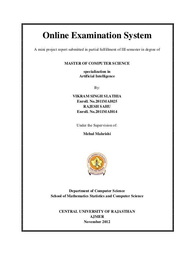 Online Examination SystemA mini project report submitted in partial fulfillment of III semester in degree of              ...