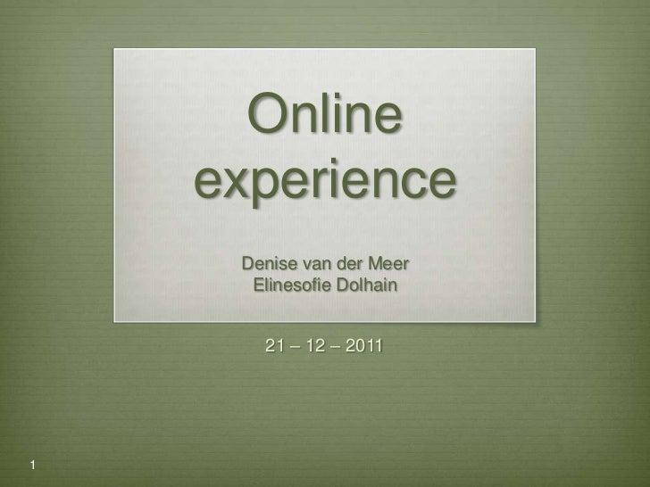 Online    experience     Denise van der Meer      Elinesofie Dolhain       21 – 12 – 20111
