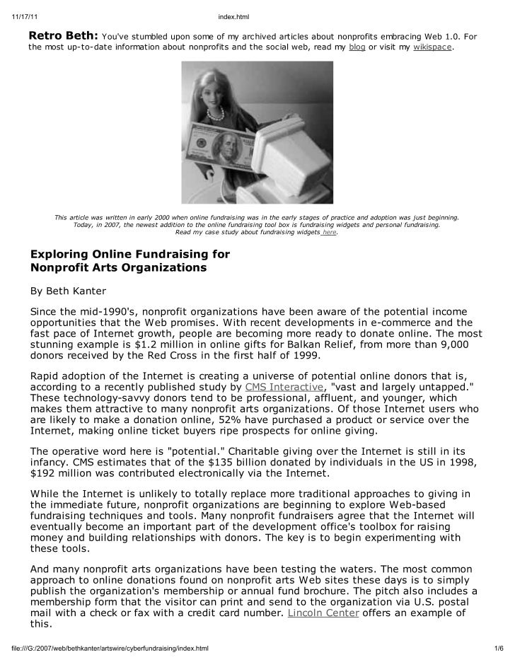 Article from 2001 about Online Fundraising
