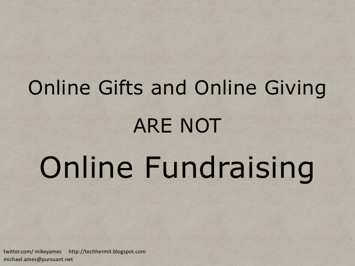 Online Giving is NOT Online Fundraising