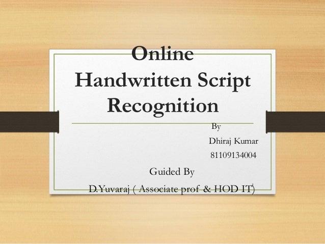 Handwritten Script Recognition Script Recognition