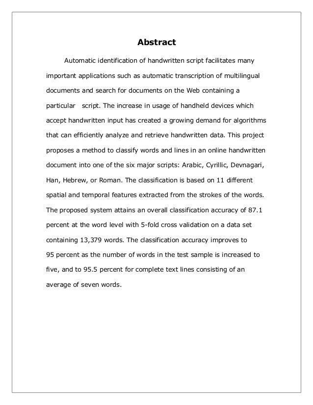 Handwritten Script Recognition of Handwritten Script