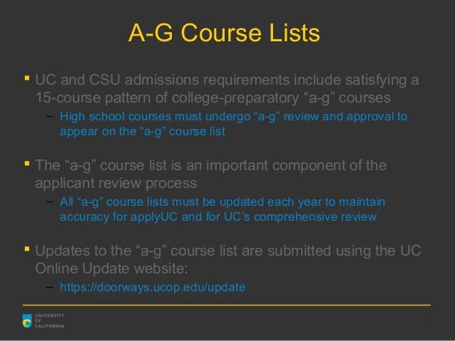 Uc a-g requirements list