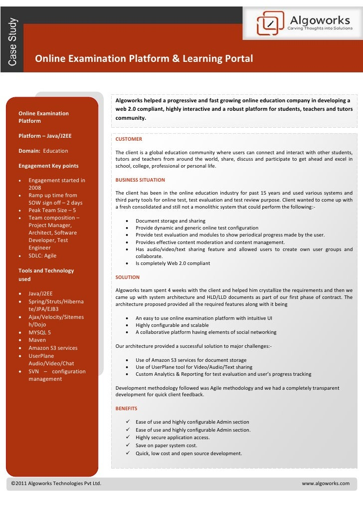 Online Examination Platform & Learning Portal                                        Algoworks helped a progressive and fa...
