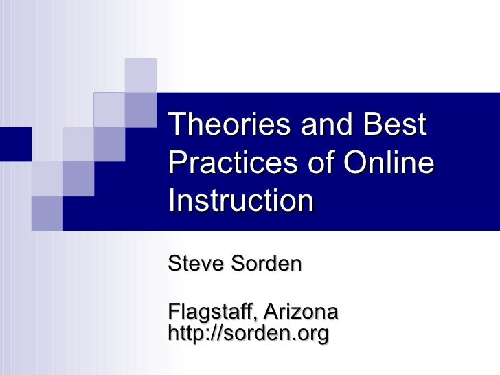 Theories and Best Practices of Online Instruction Steve Sorden Flagstaff, Arizona  http://sorden.org