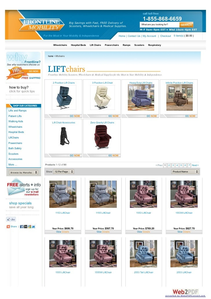Online lift chair store and mobility scooter store