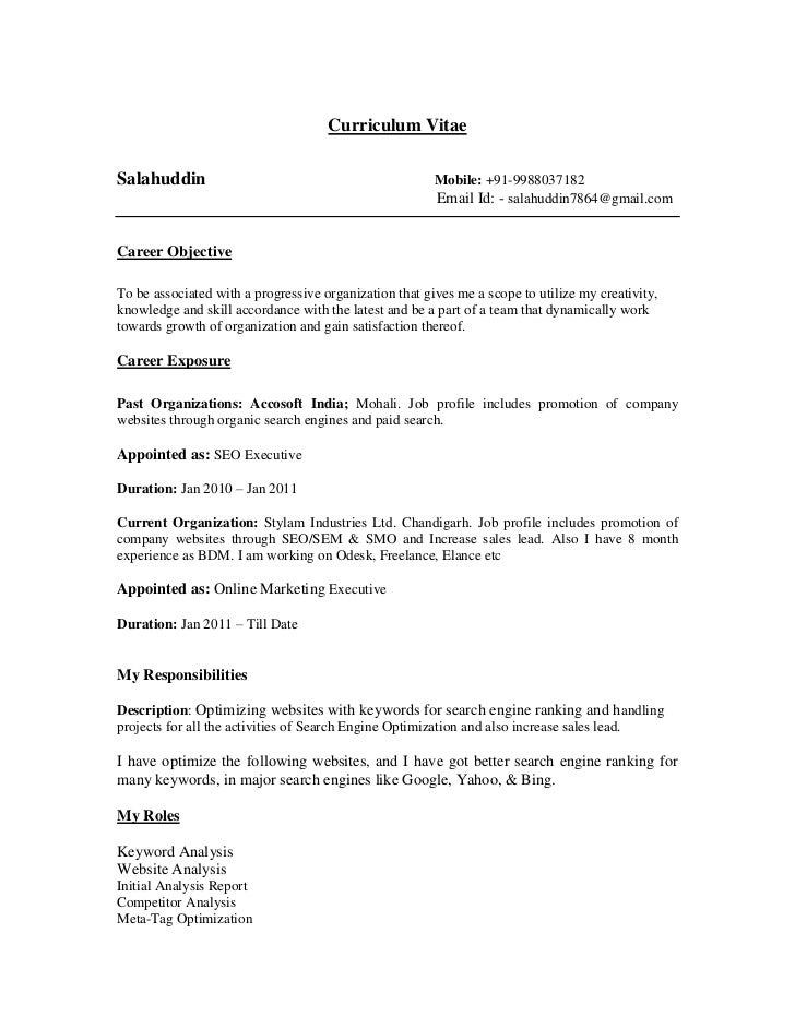 Online Marketing And Bdm Resume