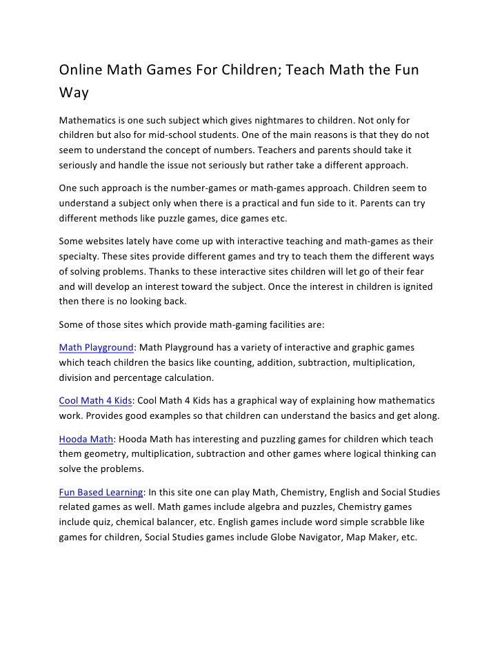 Online math games for children; How to teach mathematics in a fun way