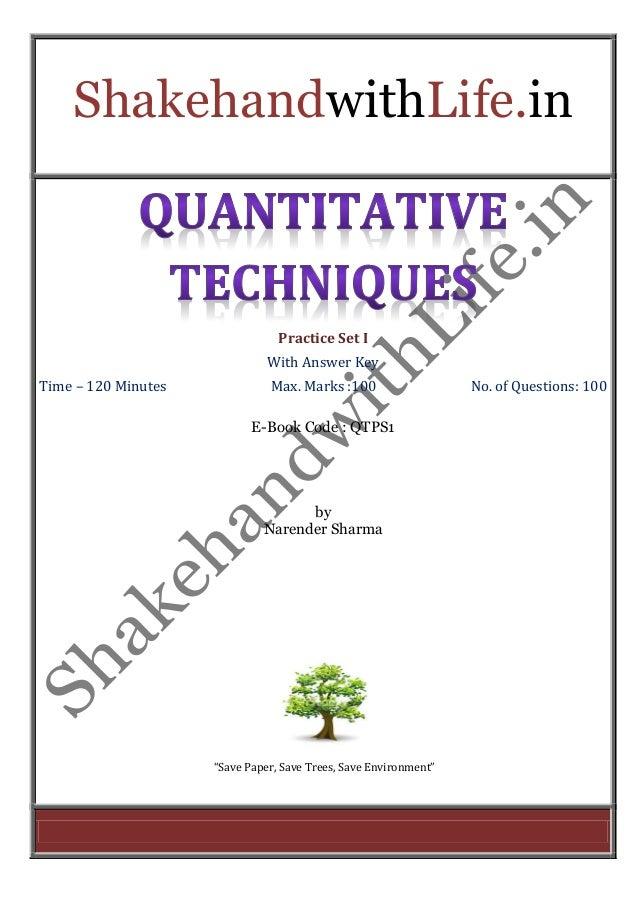 Quantitative Techniques Practice set 1