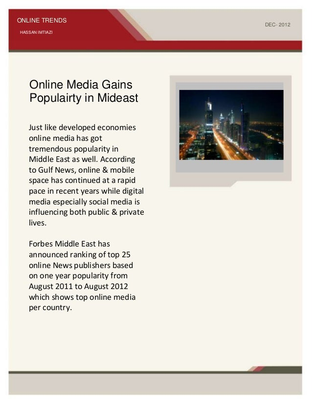 ONLINE TRENDS                                                                      DEC- 2012HASSAN IMTIAZI    Online Media...
