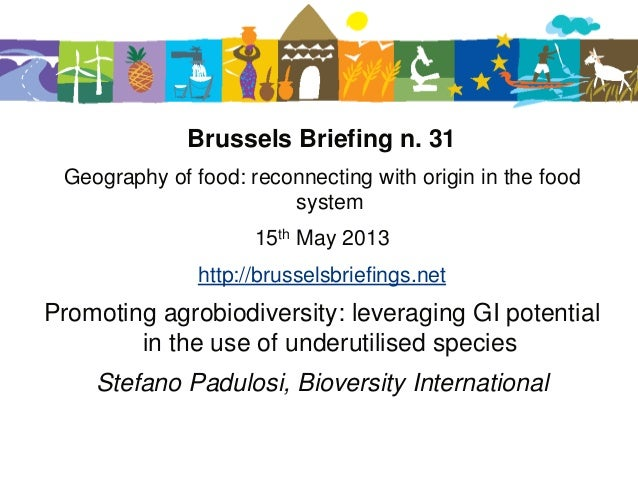 Promoting agrobiodiversity: leveraging GI potentials in the use of underutilized species