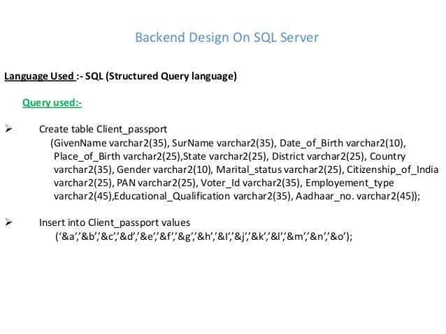 Backend Server Language Backend Design on Sql Server