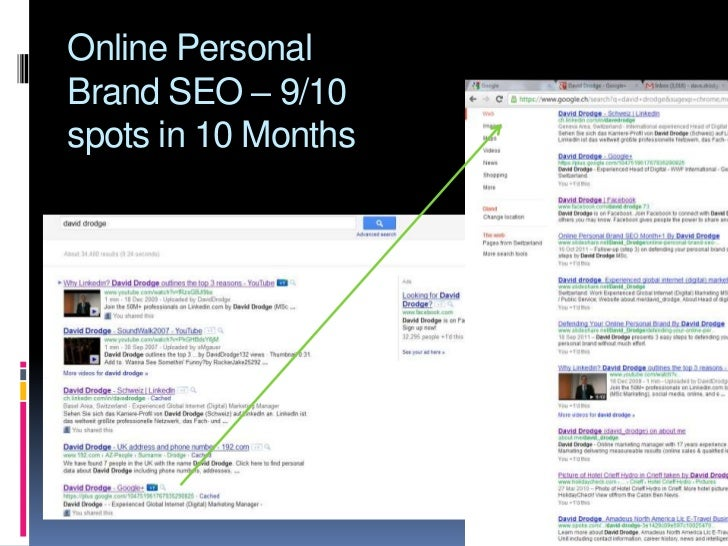 Online personal brand seo 10 months by David Drodge
