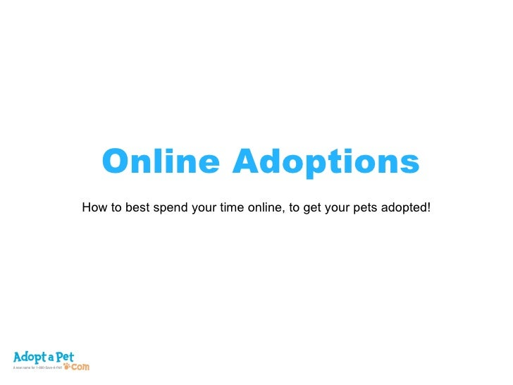 Online Adoptions How to best spend your time online, to get your pets adopted!