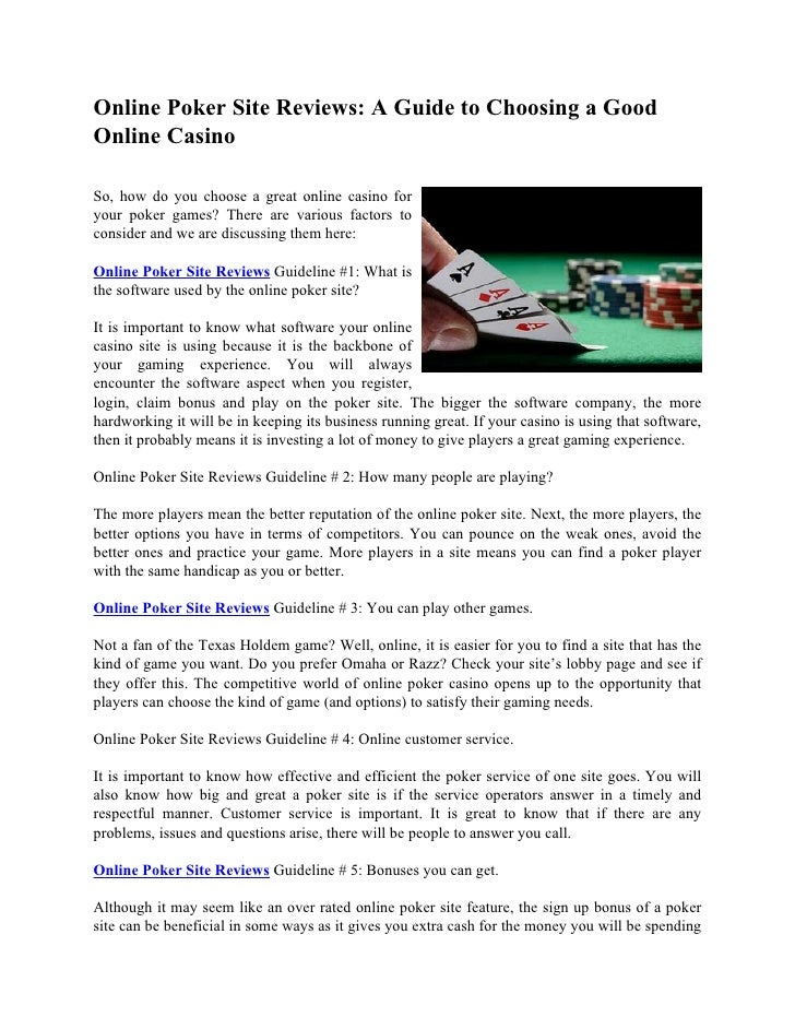 Online Poker Site Reviews: A Guide to Choosing a Good Online Casino