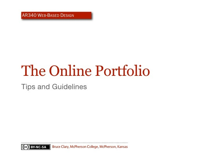 AR340 WEB-BASED DESIGN     The Online Portfolio Guidelines and Tips