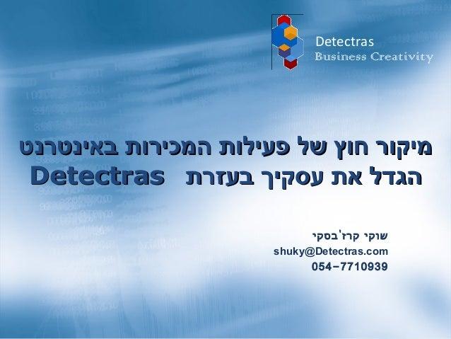 Detectras On Line Sales  Presenation August 2010