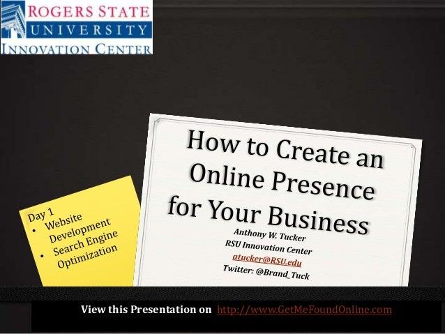 Online Presence Development-Part 1