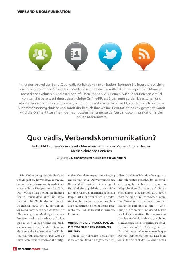"""VERBAND & KOMMUNIKATION      Im letzten Artikel der Serie """"Quo vadis Verbandskommunikation"""" konnten Sie lesen, wie wichtig..."""