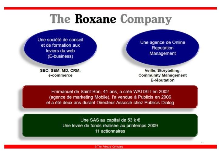 1 © The Roxane Company
