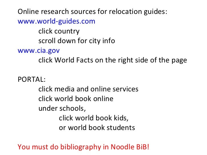 Online research sources for relocation guides