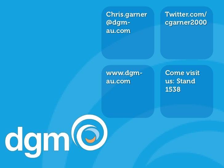 Chris.garner   Twitter.com/        BRANDED INTRO SLIDE                      @dgm-          cgarner2000                    ...