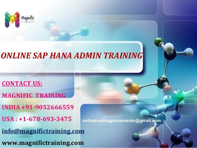 LOGO  ONLINE SAP HANA ADMIN TRAINING CONTACT US: MAGNIFIC TRAINING INDIA +91-9052666559 USA : +1-678-693-3475  onlinetrain...