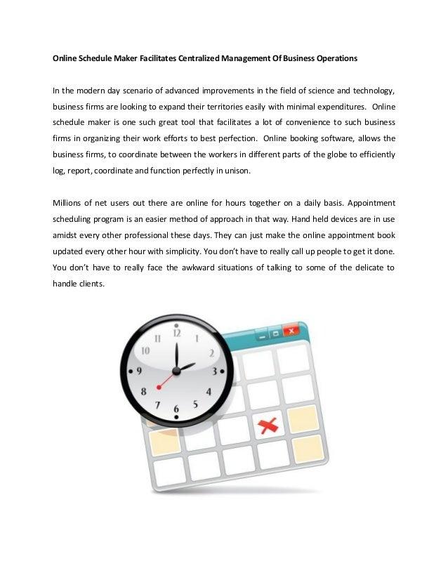online schedule maker facilitates centralized management of business