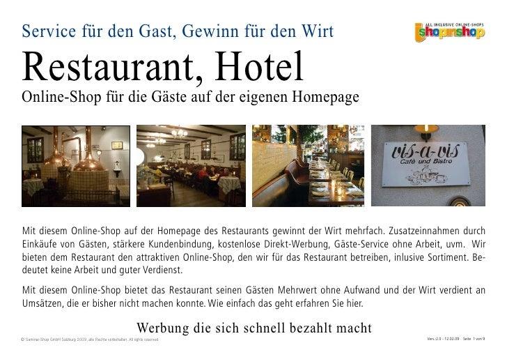 Service für den Gast, Gewinn für den Wirt  Restaurant, Hotel Online-Shop für die Gäste auf der eigenen Homepage     Mit di...