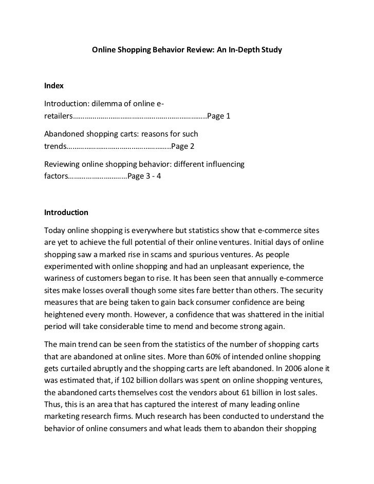 Online Shopping Behavior Review: An In-Depth StudyIndexIntroduction: dilemma of online e-retailers………………………………………………………….....