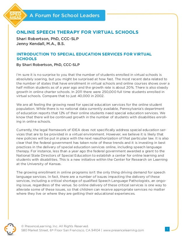 Online Speech Therapy for Virtual Schools
