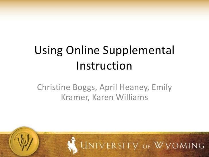 2011Online Supplemental Instruction