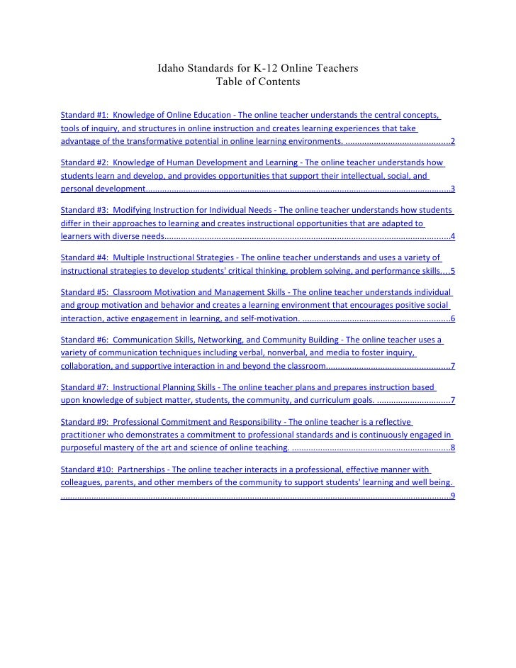 Idaho Standards for K-12 Online Teachers                                                    Table of Contents  Standard #1...