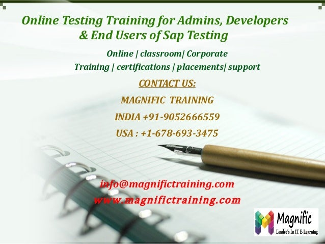 Online testing training for admins, developers & end users of sap testing