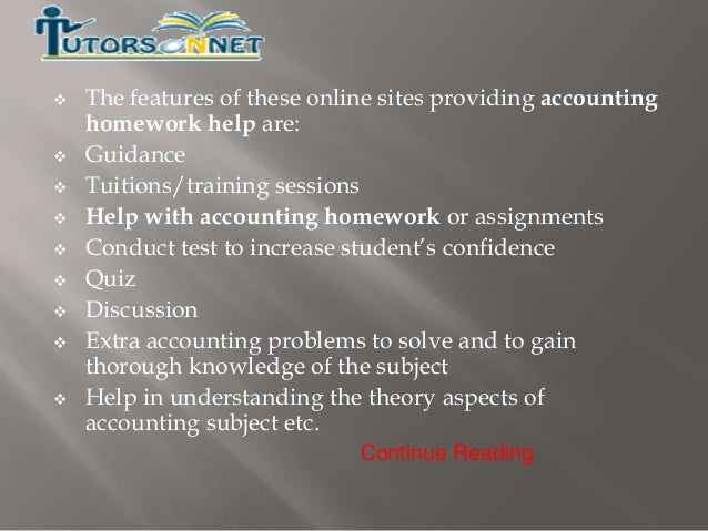 Accounts homework help